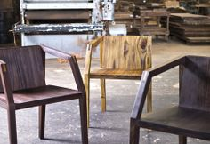 Esther Chair By Aaron Portiz Furniture  Sturdy, expressive and comfortable, the Esther Chair comes with a removable back pad. Available with Hurricane Felix felled old growth lumber as well as coffee and teak plantation lumber.