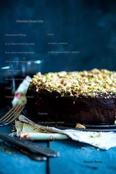 Chocolate Cheesecake Topped with Pistachios and Walnuts with an Oreo Crust