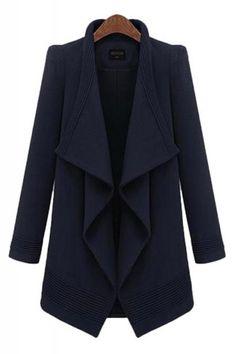 Irregular Collar Long Sleeve Navy  Blue Tweed Winter Trench Coat