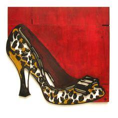 """Uitgebrand en beschilderd houten muurobject met de naam """"I put some new shoes on and everything is right"""" Formaat 150x150 cm"""