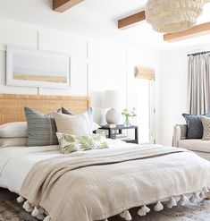 Coastal Master Bedroom, Master Bedroom Design, Home Decor Bedroom, Modern Bedroom, Coastal Bedding, Bedroom Ideas, New Room, Interior Design, Decoration
