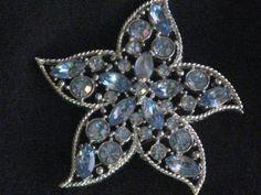 Vintage Silvertone Starfire Brooch Aqua Blue by RicksVintagePlus, $22.00