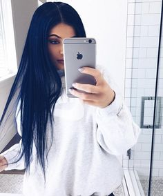 Kylie Jenner's Navy Blue Hair | Spring 2016 | POPSUGAR Beauty