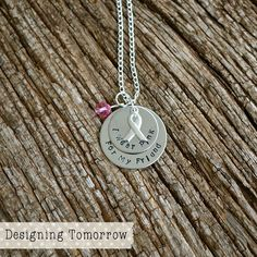 Awareness Necklace - I Wear Pink For My... -STAINLESS STEEL PENDANT - with Awareness Ribbon Charm and Bead