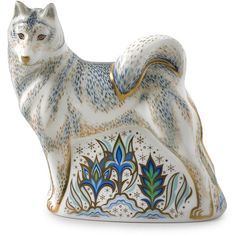 Royal Crown Derby Husky Paperweight ($400) ❤ liked on Polyvore featuring home, home decor, office accessories, royal crown derby, royal crown derby paperweight, bone china and royal crown derby figurines