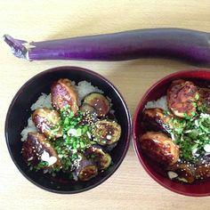 Chicken ball n grilled eggplant w/teriyaki sauce bowl  鶏つくねと焼き茄子丼(大人は七味もぶっかけます!)  #namameshi #lunch - @namasayasaya- #webstagram