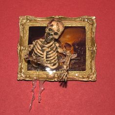 Doll House Miniature, Halloween, Skeleton coming out of a Framed Picture , OOAK #MysticKingdom
