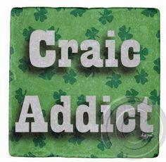 Craic Addict, Shamrocks, St. Patricks Day,Ireland Marble Coaster,