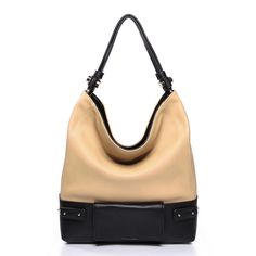Contrasting Color Stylish Women's Faux Leather Hobo Bag with Flap Over