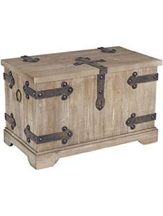 Household Essentials Decorative Victorian Inspired Trunk, Rustic Brown, Large ❤ Household Essentials