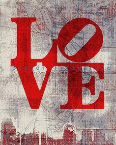 Love H 8 x 10 Philadelphia Map Fusion by BrandiFitzgerald, $20.00