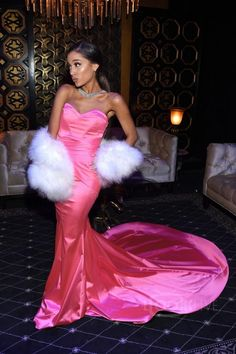 Ariana Grande wearing Michael Costello Custom Gown