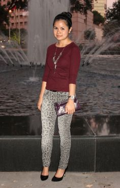 cute printed pants {love the leopard and oxblood combo}