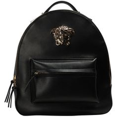 Versace Nappa leather logo backpack ($2,088) ❤ liked on Polyvore featuring bags, backpacks, nero, knapsack bags, versace, day pack backpack, backpacks bags and logo backpacks