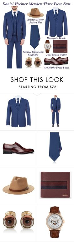 """How To Rock A Classic Blue Three Piece Suit"" by latoyacl ❤ liked on Polyvore featuring Daniel Hechter, Ralph Lauren Purple Label, Brixton, Paul Smith, Samuel Gassmann, Blancpain, men's fashion and menswear"