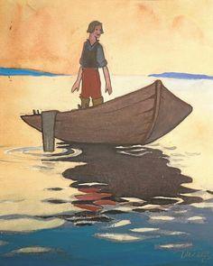 Martta Wendelin - Anni Swan: Satuja. WSOY 1920, vesiväri. Kirjan kansi. Tuusulan taidemuseo, kuvitustaiteen kokoelma.