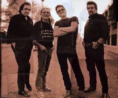 The Highwaymen: Johnny Cash, Willie Nelson, Kris Kristoferson, and Waylon Jennings. Photographed in Stockholm, Sweden, 1992.