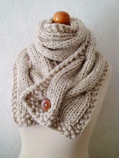 Chunky Scarf Handknit Big Cowl Extra Thick Cabled Soft  in Natural White Beige. $80.00, via Etsy. - @Patti B B B B Dougherty needs to learn quick, and teach me!