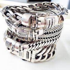 braids - XL armbanden van Buddha to Buddha! www ajuweliers nl men'sjewelry Mens Silver Jewelry, Black Gold Jewelry, Silver Bracelets, Bracelets For Men, Silver Earrings, Unique Jewelry, Buddha Jewelry, Fashion Mode, Men Fashion