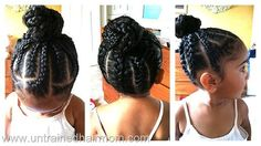 Braided hairstyles are always fun and it adds and extra definition to your look. Give your regular monotonous hairstyle a boost with the touch of Jumbo French Braid and make your look more defined for the day. Childrens Hairstyles, Lil Girl Hairstyles, Natural Hairstyles For Kids, Kids Braided Hairstyles, My Hairstyle, Braided Updo, Black Hairstyles, Updo Hairstyle, Prom Hairstyles
