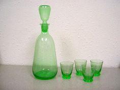 Vaseleine Glass Bar Decanter and Shot Glass Set