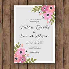 Wedding Invitation PRINTABLE - Pink and Grey Modern Floral Invitation and RSVP Card - Printable Files
