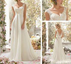 Custom White/Ivory Lace Applique&Chiffon bridal Vneck Cap by VEIL8, $149.00