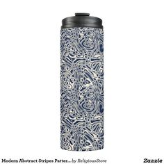 Modern Abstract Stripes Pattern Thermal Tumbler