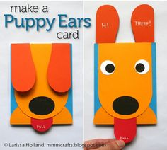 FREE PRINTABLE TEMPLATE~ This Puppy Ears Card is a great craft to make for any occasion.
