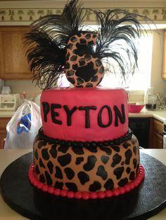 Cheetah inspired birthday cake