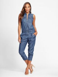 c9256b3b351a Ultra-Soft Chambray Jumpsuit - Gabrielle Union Collection
