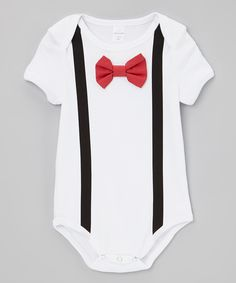 This Red Bow Tie & Suspenders Bodysuit - Infant by Born to Love is perfect! #zulilyfinds