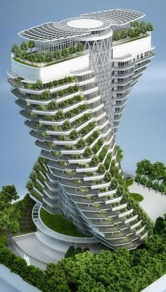 Agora Tower (concept art) under construction in Taipei, Taiwan (2016 completion date) • Vincent Callebaut Architectures