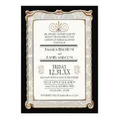 Art Deco Nouveau Gatsby Style Gold n Lace Look Invites