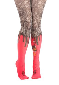 Paint Seen Nothin' Yet Tights - Red, Multi, Fairytale, Quirky, Darling, Critters, Sheer, Knit, Novelty Print
