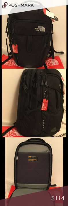 "NWT The North Face Women's Surge backpack Brand new with tags, The North Face Women's Surge backpack in black color.   31-liter backpack Women-specific shoulder straps are contoured for a women's torso for a perfect fit for any size or shape Fleece-lined 15"" laptop compartment  Secondary compartment for books and binders Fleece-lined tablet sleeve located in the front compartment for quick access External fleece-lined pocket Sternum strap with whistle buckle Removable waist belt  Price is…"
