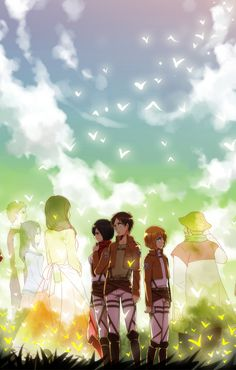 Attack on Titan characters, surrounded by the ghosts/echoes/memories of their loved ones. Why would someone post this? :( It's beautiful, but sad.