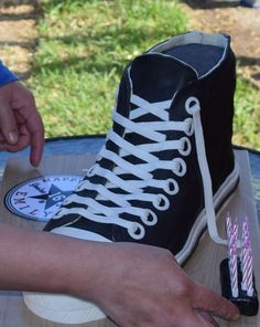 """3D Converse High Top Shoe Cake, with """"Happy 16th Birthday"""" incorporated into the Converse logo.  Inside:  Chocolate cake with whipped dark chocolate ganache buttercream."""