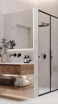 Modern Bathroom Design, Bathroom Interior Design, Minimal Bathroom, Modern Design, Modern Interior, Neutral Bathroom, Best Bathroom Designs, Wood Bathroom, Bathroom Inspo