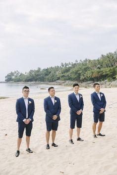 Groomsmen in shorts Beach Wedding Groom Attire, Beach Groom, Summer Wedding Attire, Wedding Men, Summer Weddings, Dream Wedding, Wedding Ideas, Groom And Groomsmen Outfits, Beach Wedding Colors
