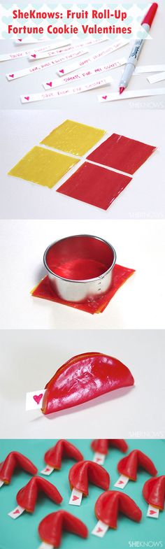 It says Valentines but I am sure it can be done for every occasion..... SheKnows: Fruit Roll-Up Fortune Cookie Valentines  {Step-By-Step}. What an easy thing to do with the kids or surprise the kids with! I want to make these right now!