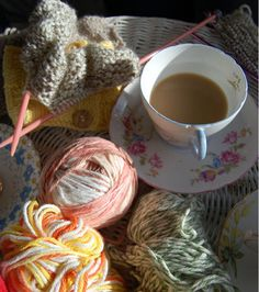 Knitting and a cup of hot tea. A perfect afternoon.