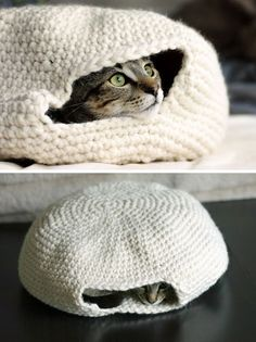 Easy Crochet Cozy Nest for Your Cat. Make this cute crocheted nest to hold your lovely cat around in the winter. It's easy (even for beginner) to crochet.