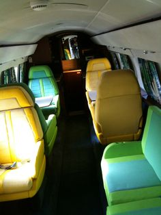 Colorful airplane seats at Graceland.