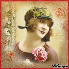 Vintage Lady  with roses Vintage Ladies, Retro Vintage, Animation, Lady, Gifs, Roses, Collage, Beautiful, Fashion