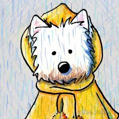 ACEO Art Print Rainy WESTIE Terrier Dog Raincoat. $5.00, via Etsy.                                                                                                                                                                                 Plus