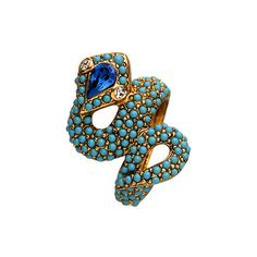 Kenneth Jay Lane Turquoise Snake Ring ($128) ❤ liked on Polyvore