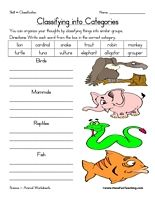 Animal Classification Worksheet: Write each word from the box in the correct category. Classify the animals into birds, mammals, reptiles, and fish. Information: Classifying Worksheet. Classification Worksheet.