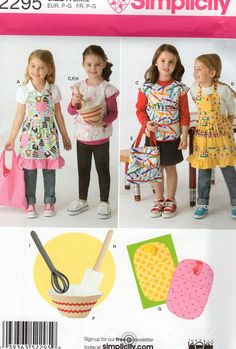 Simplicity 2295 Sewing Pattern Free Us Ship apron Girls SML Purse Bags tote Play Felt Bowl Whisk Spatula Craft New Uncut Out of Print by LanetzLiving on Etsy