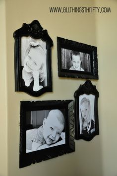 My gallery wall after six months in the making! Picture frames from chair backs.